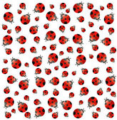White background with small ladybugs. Vector — Stock Vector