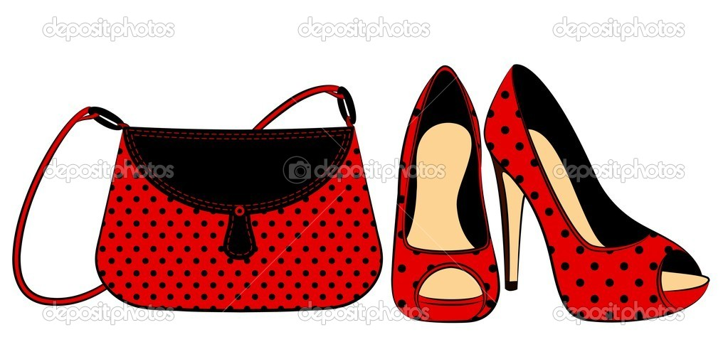 Zapatos Y Bolso De Mujer De Dibujos Animados Vector De