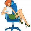Beautiful business women sits in a chair in office — Stock Vector