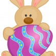 Stock Vector: Easter Bunny with colored eggs. Easter card