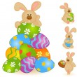 Easter Bunny with basket and colored eggs. Easter card - Stockvectorbeeld