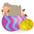 Easter sheep with colored egg. Easter card — Stock Vector