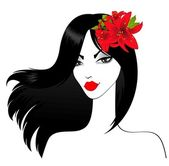 Beautiful girl with tropical flowers — 图库矢量图片