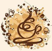 Ilustración con la taza de café abstracto — Vector de stock