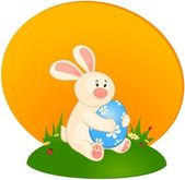 Easter Bunny with colored eggs. Easter card — Stock Vector
