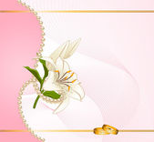 Vector two wedding rings on a background with flowers — Vector de stock