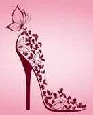 High heel shoes from beautiful butterflies. Vector — Stock vektor