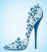 High heel shoes from beautiful butterflies. Vector — Stock Vector