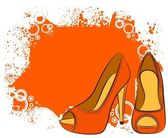 Beautiful pair of shoes with high heel — Stock Vector