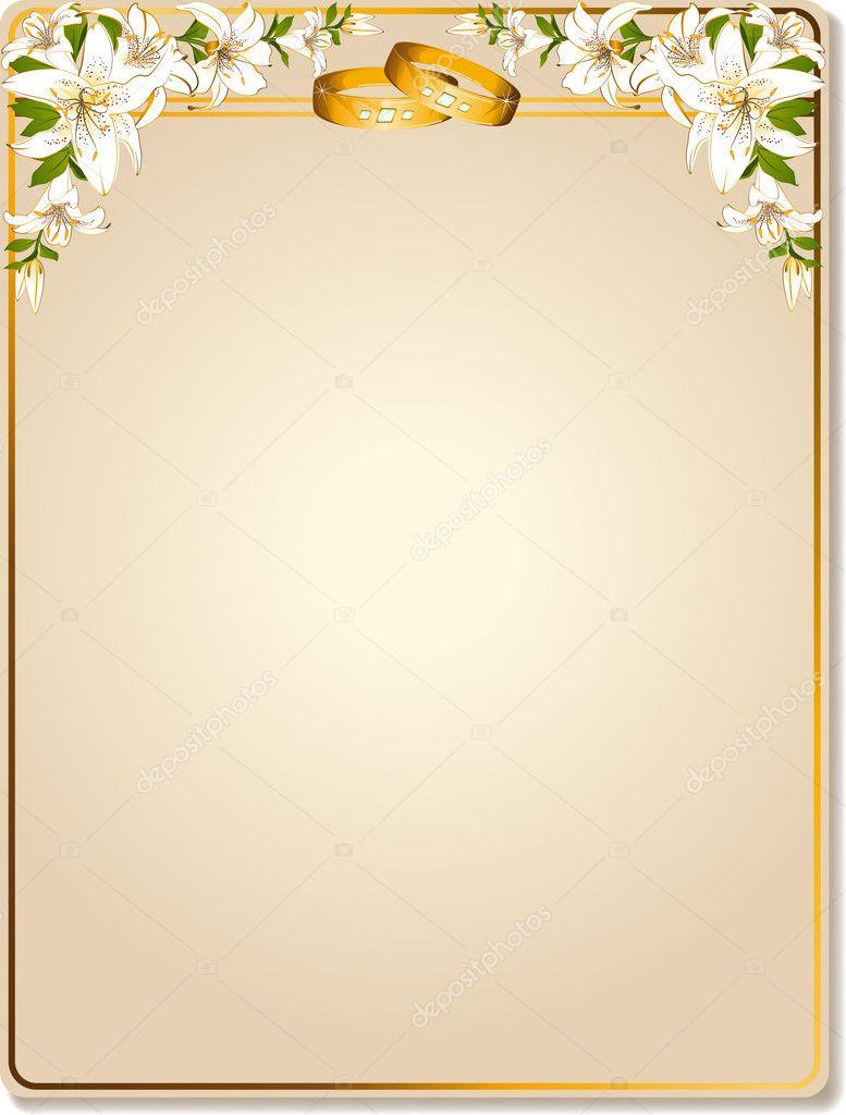 Vector due fedi nuziali su uno sfondo con i fiori — Vettoriali Stock ...