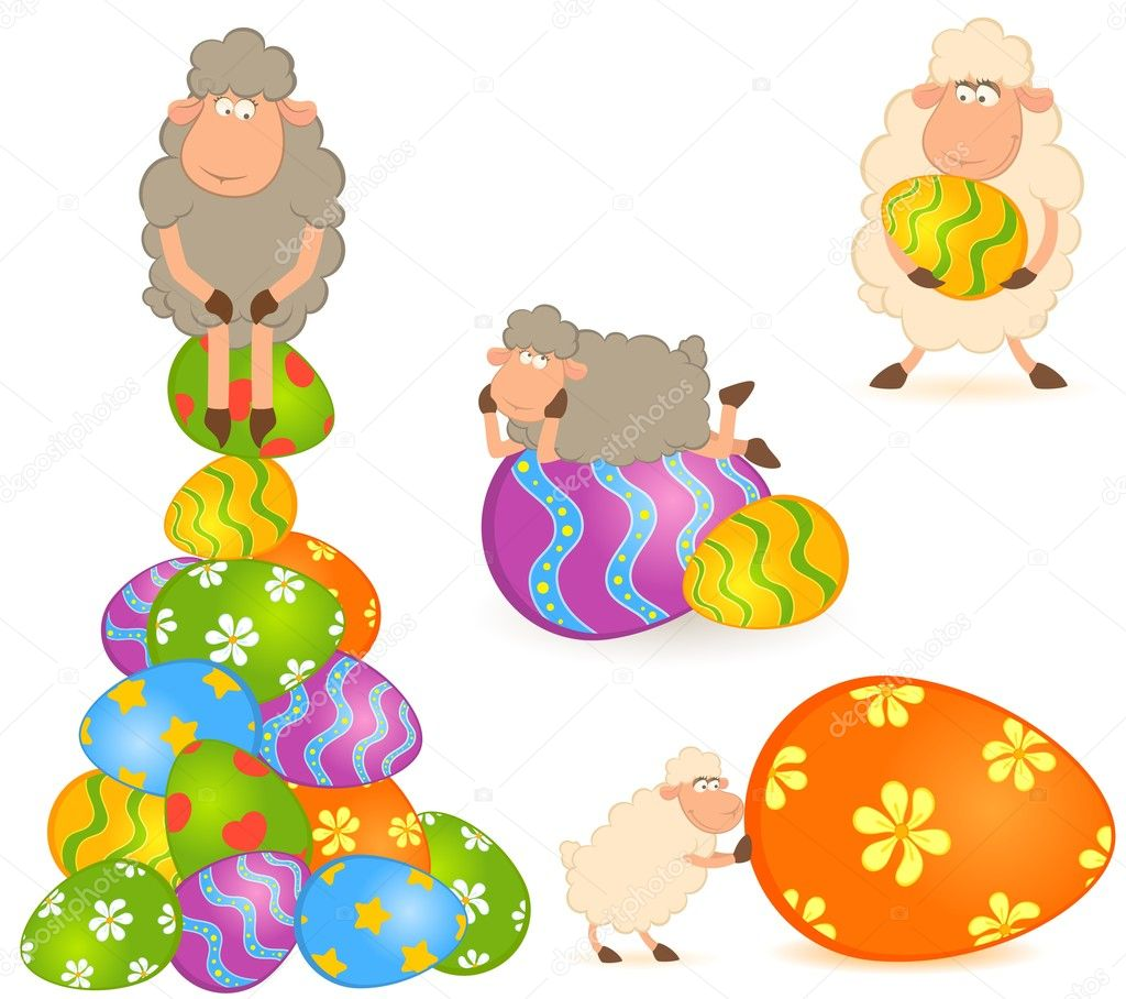 Easter sheep with colored egg. Easter card  Stock Vector #7196193