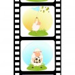 Vector blank film colorful strip with sheep — Stock Vector