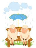 Şemsiye ile karikatür koyun. — Stok Vektör
