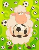 Cartoon funny sheep play in football — Stock Vector
