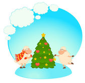 Cartoon funny sheep dresses up a fir-tree. Vector illustration — Stock Vector