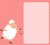 Vector cartoon funny sheep holds a hear — Stock Vector