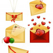 Stock Vector: Celebratory envelopes with red hearts