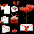 Celebratory envelopes with red hearts - Stock Vector