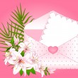 Celebratory envelope with flowers. Vector — Stock Vector