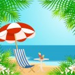 Stock Vector: Beautiful summer beach. Vector illustration in retro style