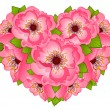 Beautiful heart with flowers — Stock Vector