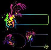 Grunge abstracte achtergrond met vlekken en bloemen — Stok Vektör