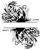 Ilustración de grunge floral abstracta la bandera con manchas blancas /negras — Vector de stock