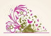 Illustration des grunge floral abstrakt banner mit flecken — Stockvektor