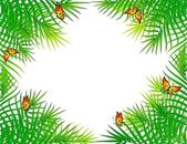 Beautiful palm branchs with butterflies. Vector — Stock Vector