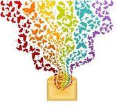 Envolvente celebración vector con hermosas mariposas — Vector de stock