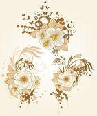 Fondo abstracto con hermosas flores y manchas — Vector de stock