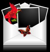 Photo frames with flowers and butterflies — Vector de stock