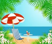 Beautiful summer beach. Vector illustration in retro style — Stock Vector