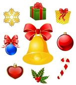 Christmas objects on the background — Vector de stock