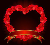 Red rose heart with ribbon. — Stockvector