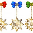 Set of christmas bows and snowflakes - ベクター素材ストック