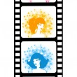 Blank film colorful strip with portraits of young girls — Stock Vector