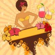 Beautiful pin-up girl with cocktail in retro style — Stock Vector