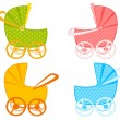 Vector scribble baby carriage - Stock Vector