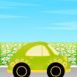 Vector cartoon car on a background summer landscape — Stock Vector