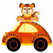 Royalty-Free Stock Vector Image: Cartoon car and tiger on white background