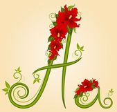 Vector letter for signs with flowers — Stock Vector