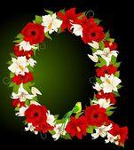 Lettera per i segni con fiori e uccelli — Vettoriale Stock