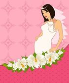 Beautiful bride in white dress. — Stock Vector