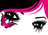 Beautiful womanish eyes with bright mak-up in style of emo — Stock Vector