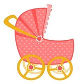 Vector scribble baby carriage — Stock Vector