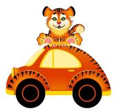 Cartoon car and tiger on white background — Stock Vector