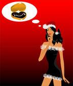 красивая девушка в костюме снег девичьи мечты о драгоценное ожерелье — Cтоковый вектор