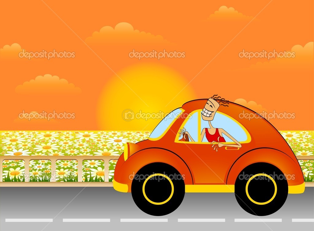 卡通车上背景夏天风景