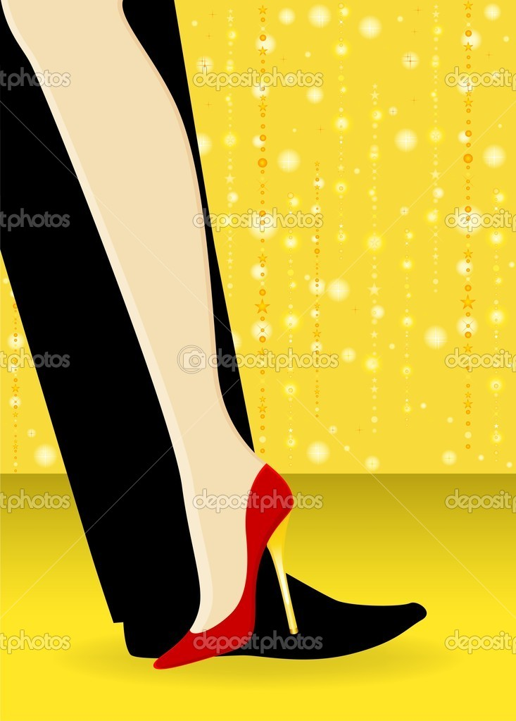 Beautiful womanish and masculine legs dance a tango — Stock Vector #7229717